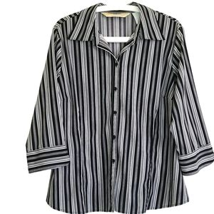 Womens Black & White Stiped Stetchy Blouse